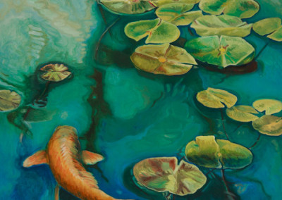 Koi Rising to Lily Pads