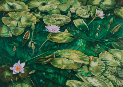 Lilies on Field of Green